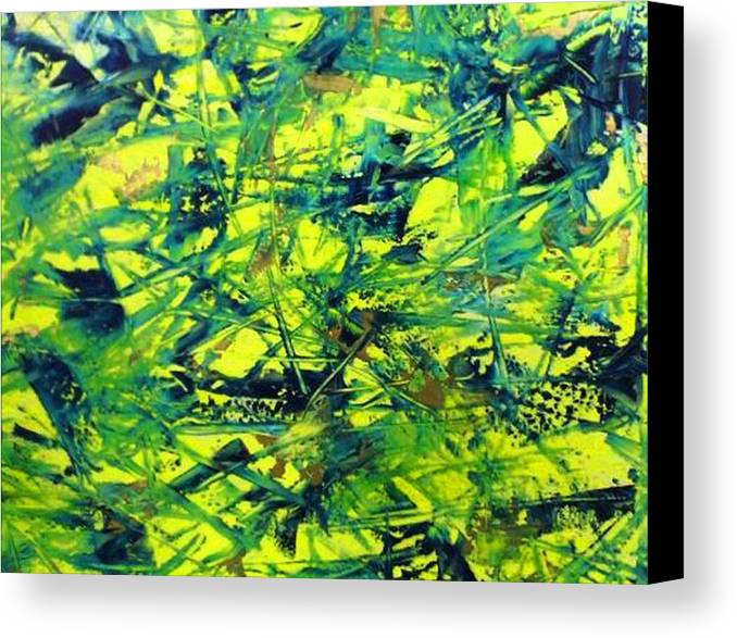 Abstract Canvas Print featuring the painting Yellow And Green by Guillermo Mason