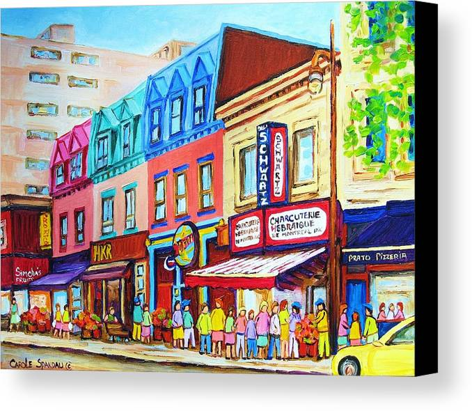 Reastarant Canvas Print featuring the painting Yellow Car At The Smoked Meat Lineup by Carole Spandau