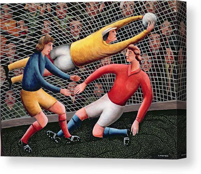 Football; Nets; Goal; Keeper; Crowd; Tackle Canvas Print featuring the painting It's A Great Save by Jerzy Marek