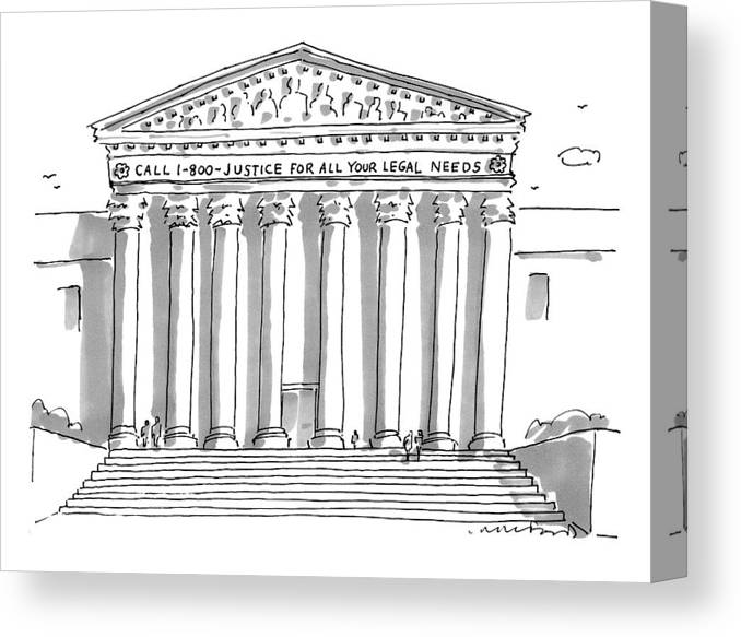 Call 1-800-justice For All Your Legal Needs Canvas Print featuring the drawing Captionless by Michael Crawford