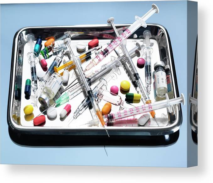 Capsule Canvas Print featuring the photograph Medical Equipment And Drugs by Tek Image/science Photo Library