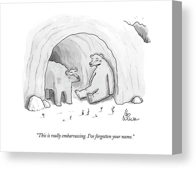(two Bears In Cave.) 125050 Lcu Leo Cullum Marriage Nature Seasons Winter Sprint Relationships Couple Dating Canvas Print featuring the drawing This Is Really Embarrassing. I've Forgotten by Leo Cullum