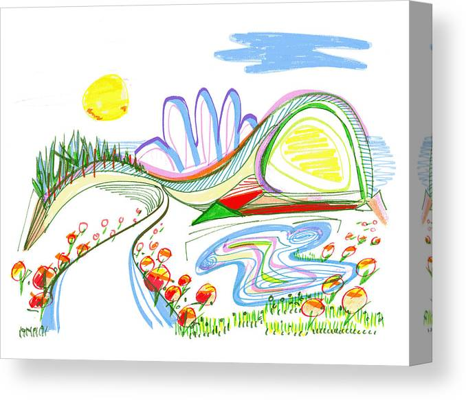 Abstract Canvas Print featuring the drawing Abstract Pen Drawing Forty-four by Lynne Taetzsch