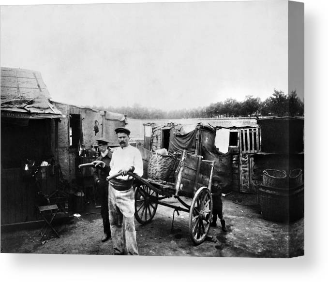 1890 Canvas Print featuring the photograph Atget Shantytown, C1900 by Granger