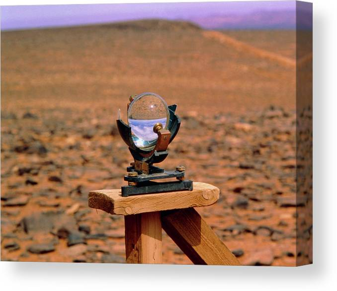 Campbell-stokes Light Recorder Canvas Print featuring the photograph Campbell-stokes Sunshine Recorder by Tony Buxton/science Photo Library