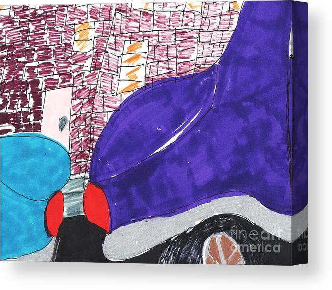 2 Cars Parked One Blue One Seablue Canvas Print featuring the mixed media City Curb Street Parking by Elinor Helen Rakowski