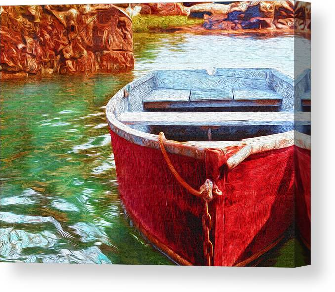 Red Canvas Print featuring the photograph Cohasset Dory by Carol Sutherland