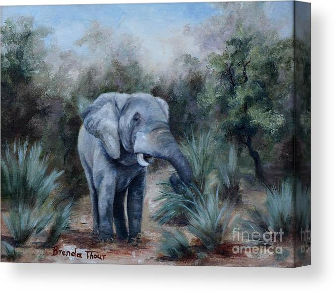 Wildlife Canvas Print featuring the painting Coming Through by Brenda Thour