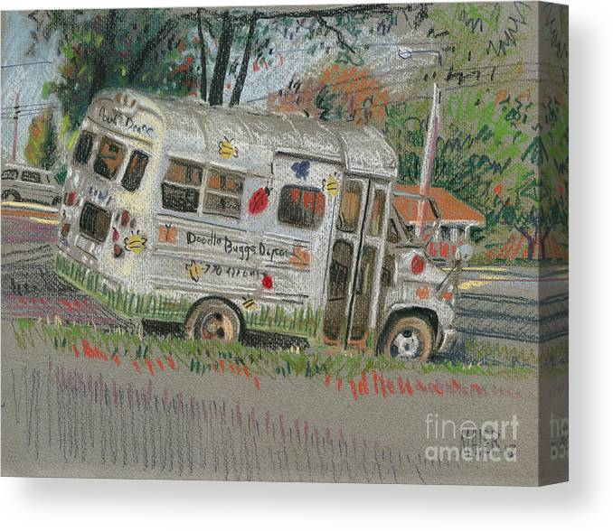 Transportation Canvas Print featuring the pastel Doodlebugs Bus by Donald Maier