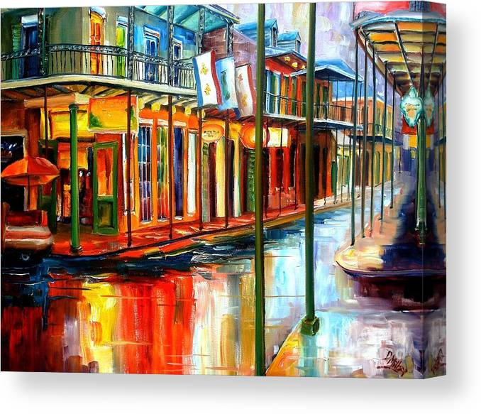New Orleans Canvas Print featuring the painting Downpour On Bourbon Street by Diane Millsap