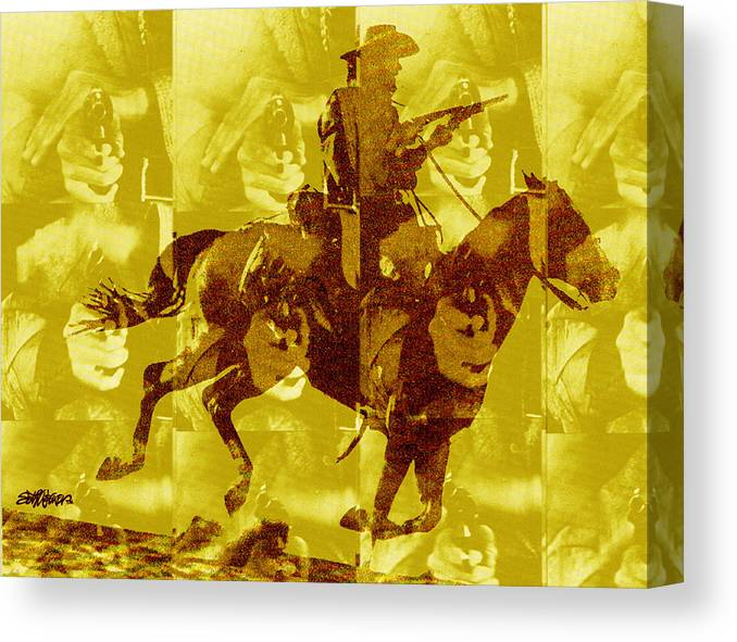 Clint Eastwood Canvas Print featuring the digital art Duel In The Saddle 1 by Seth Weaver