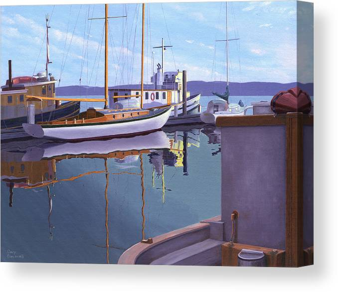 Schooner Canvas Print featuring the painting Evening On Malaspina Strait by Gary Giacomelli