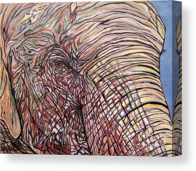 Elephant Canvas Print featuring the painting Goldie by Aimee Vance
