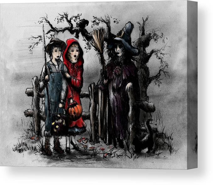 Halloween Canvas Print featuring the drawing Halloween Night by Rachel Christine Nowicki