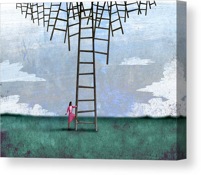 Steve Dininno Canvas Print featuring the digital art Ladder Cluster by Steve Dininno