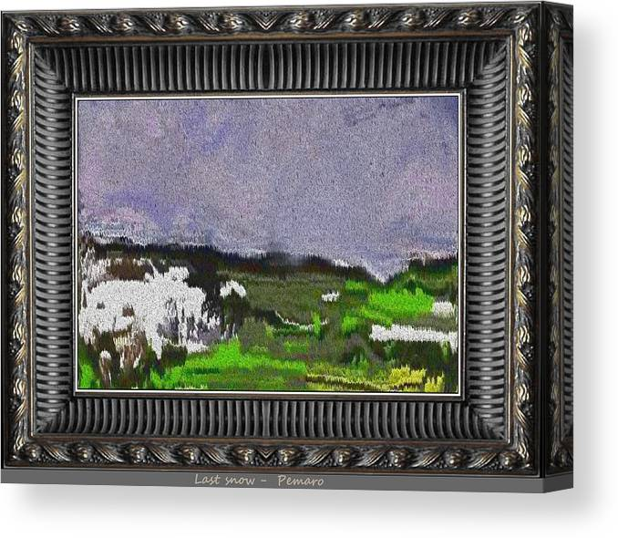 Landscape Canvas Print featuring the painting Last Snow Lsno2 by Pemaro