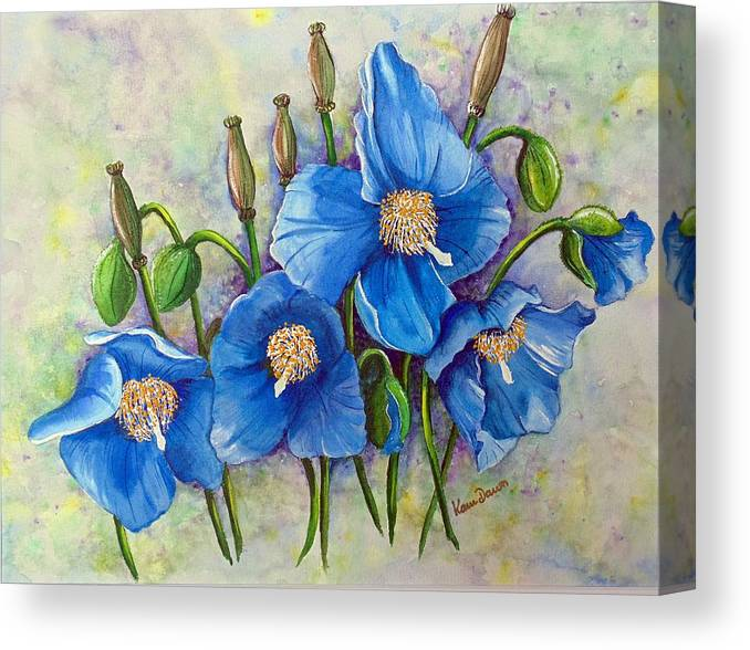 Blue Hymalayan Poppy Canvas Print featuring the painting Meconopsis  Himalayan Blue Poppy by Karin Dawn Kelshall- Best