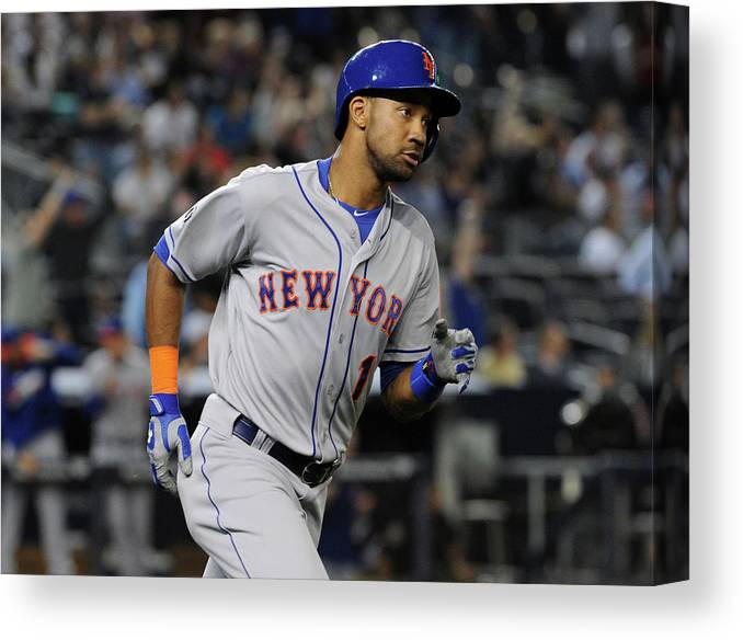 American League Baseball Canvas Print featuring the photograph New York Mets V New York Yankees by Christopher Pasatieri