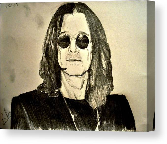 Ozzy Osbourne Canvas Print featuring the drawing Ozzy Plain And Simple by Ruben Barbosa