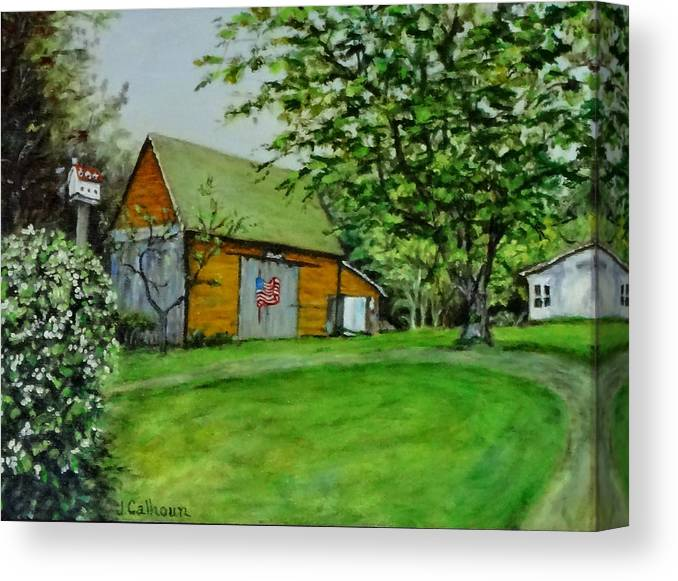 Paintings Canvas Print featuring the painting Patriotic Barn by Jennifer Calhoun