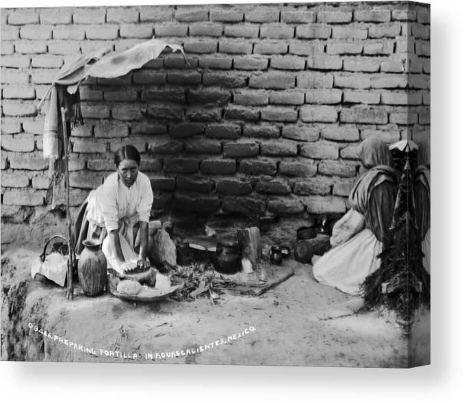 1880s Canvas Print featuring the photograph Preparing Tortillas In Aguas Calientes by Everett