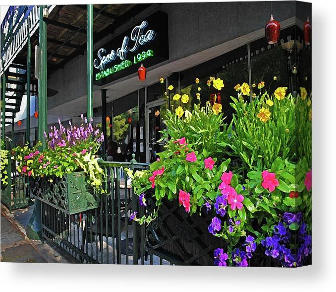 Alabama Photographer Canvas Print featuring the digital art Spot Of Tea Flower Boxes by Michael Thomas