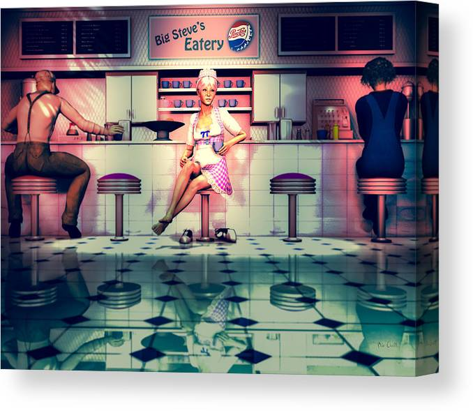 Dinner Canvas Print featuring the digital art Taking A Break by Bob Orsillo