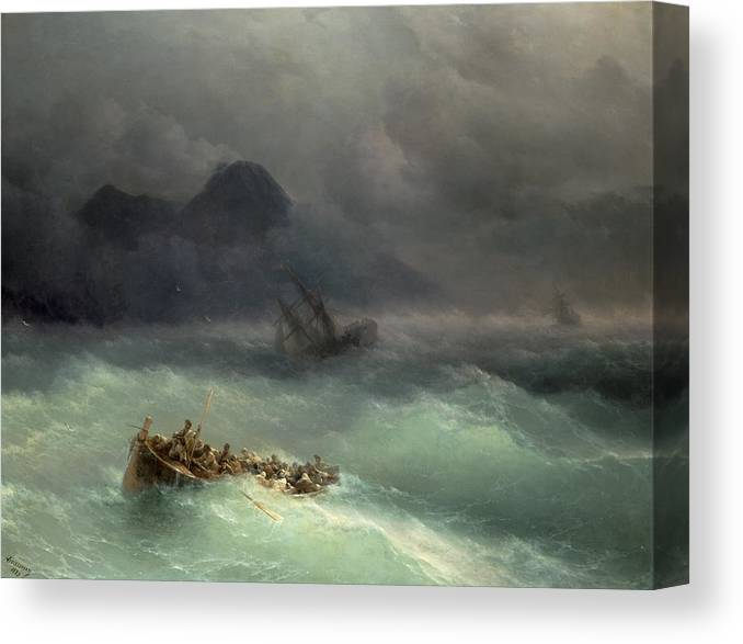 Storm Canvas Print featuring the painting The Shipwreck by Ivan Konstantinovich Aivazovsky
