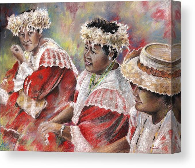 Travel Canvas Print featuring the painting Three Mamas From Tahiti by Miki De Goodaboom