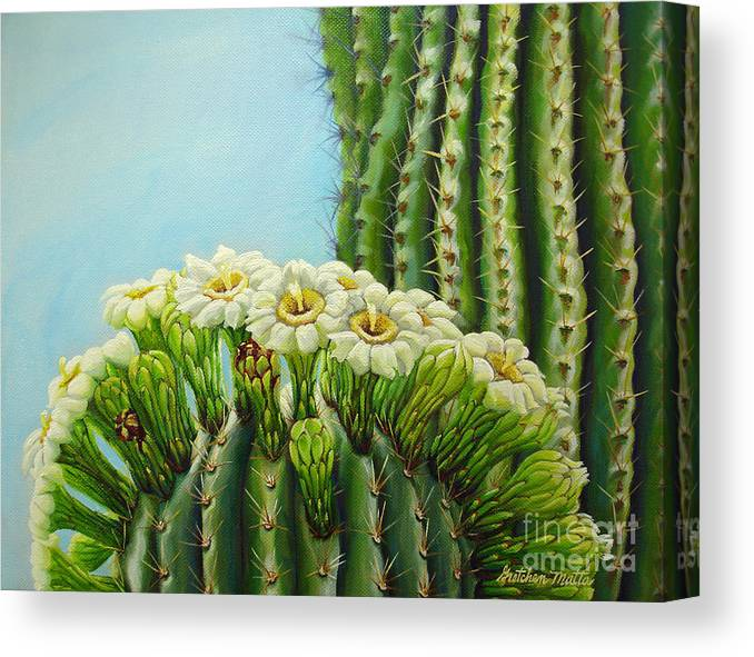 Landscape Canvas Print featuring the painting Desert Crown by Gretchen Matta