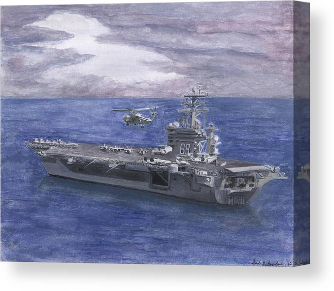 Blackhawk Canvas Print featuring the painting Uss Eisenhower by Sarah Howland-Ludwig