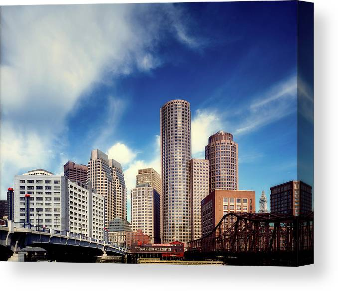 Boston Canvas Print featuring the photograph Boston Skyline 1980s by Mountain Dreams