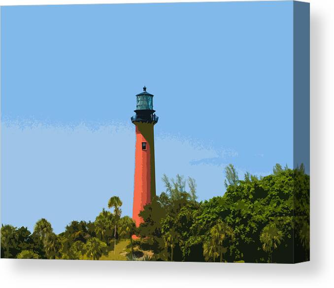 Lighthouse Canvas Print featuring the painting Jupiter Inlet Light by Allan Hughes