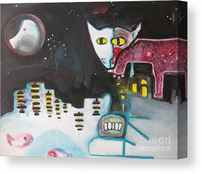 Cat Paintings Canvas Print featuring the painting Let Me Out3 by Seon-Jeong Kim