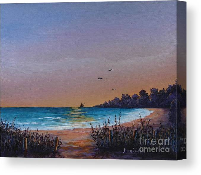 Landscape Canvas Print featuring the painting Myrtle Beach Sunset by Jerry Walker