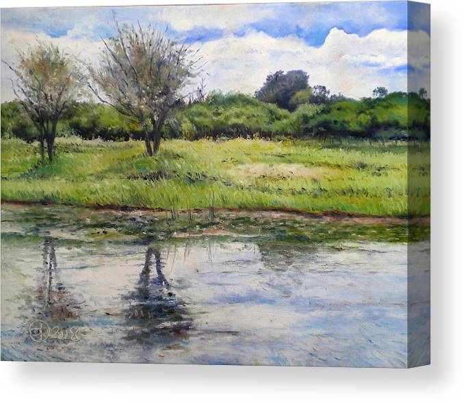 Maun Botswana Canvas Print featuring the painting Thamalakane River At Maun Botswana 2008 by Enver Larney