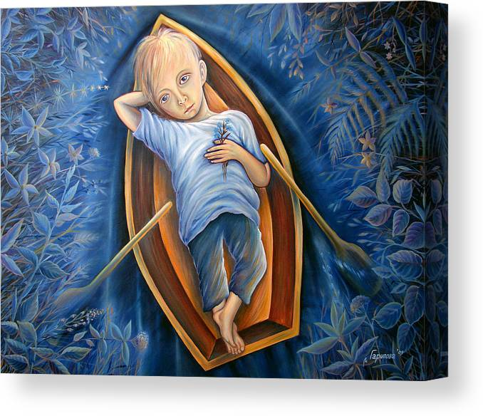 Little Boy Canvas Print featuring the painting The Beginning And The End by Liliya Garipova