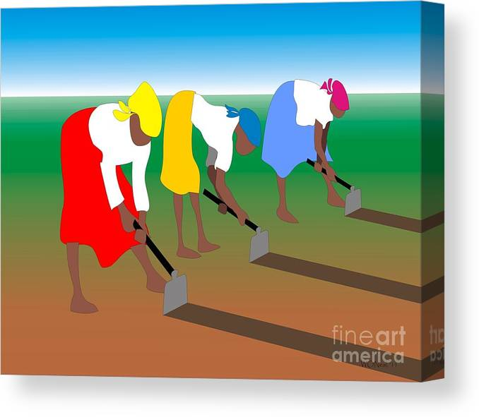 Portraits Canvas Print featuring the digital art 3 Women Working by Walter Neal