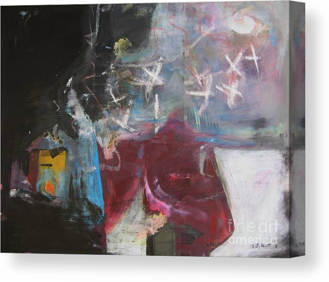 Abstract Paintings Canvas Print featuring the painting A Short Story by Seon-Jeong Kim