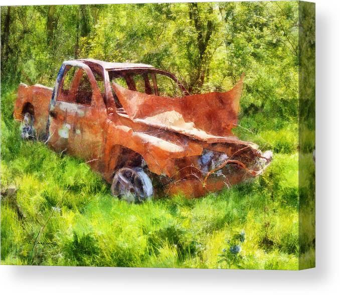 Truck Canvas Print featuring the digital art Abandoned Truck by Francesa Miller