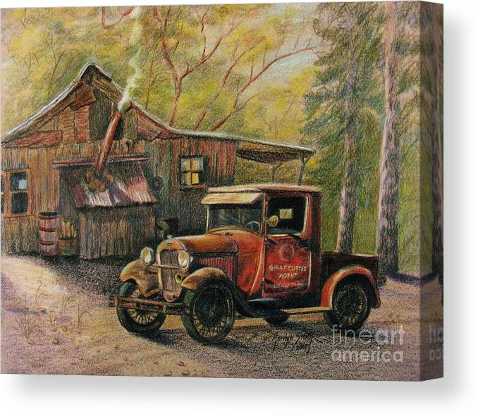 Old Trucks Canvas Print featuring the drawing Agent's Visit by Marilyn Smith