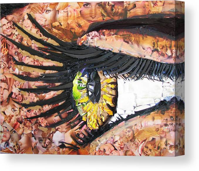 Eye Canvas Print featuring the mixed media All I See Is Garbage by Alicia LaRue