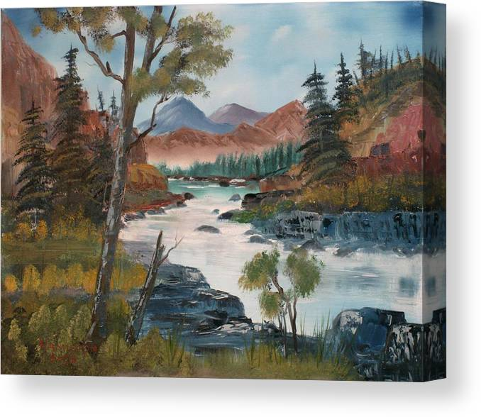 Oil Canvas Print featuring the painting Along Canyon Drive Paradise Montana by Larry Hamilton