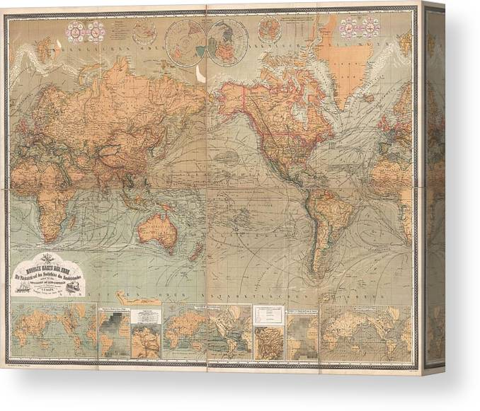 Antique Maps - Old Cartographic Maps - Antique German Map Of The World, on earth map canvas, old world map canvas, map wall art, ikea world map canvas, united states map canvas,