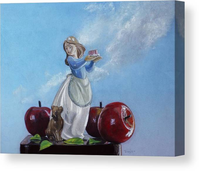 Apples With Figurine Canvas Print featuring the painting Apples With Figurine by Robert Tracy