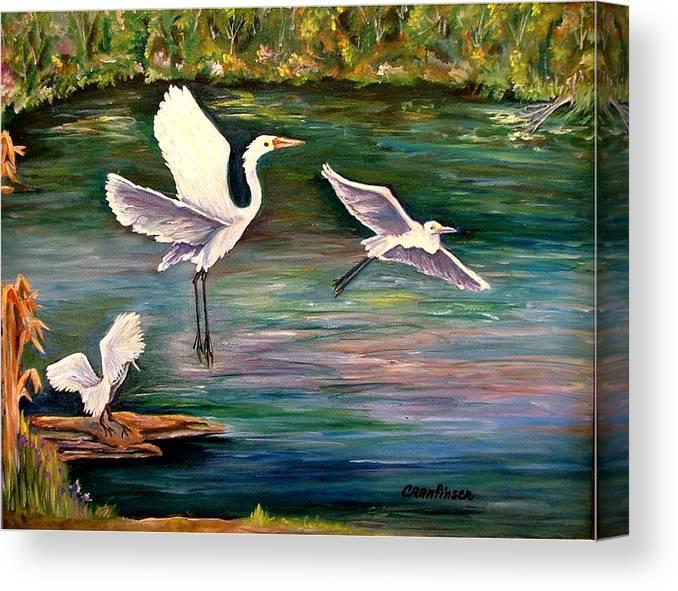 Egrets Canvas Print featuring the painting Arabesque by Carol Allen Anfinsen