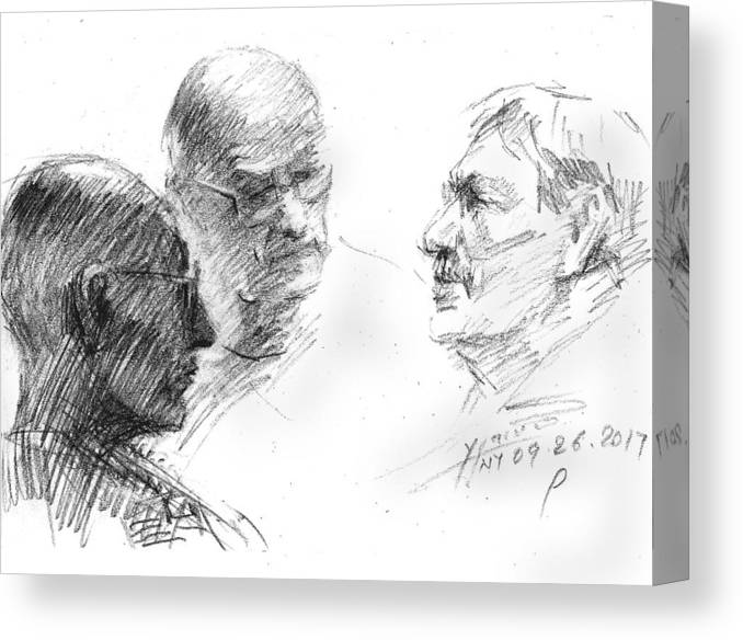 Sketch Canvas Print featuring the drawing At Tim Hortons 2 by Ylli Haruni