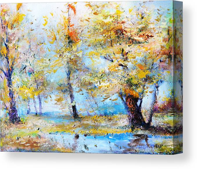Autumn Canvas Print featuring the painting Autumn Tenderness by Oleg Poberezhnyi