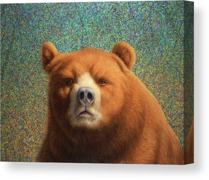 Bear Canvas Print featuring the painting Bearish by James W Johnson