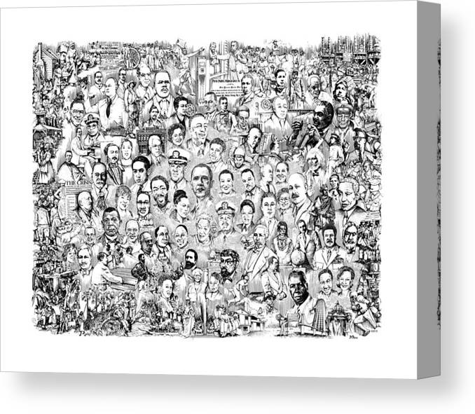 Black History Canvas Print featuring the drawing Black Heritage by Dennis Bivens
